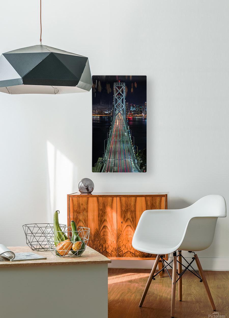 Oakland - San Francisco Bay Bridge at Night  HD Metal print with Floating Frame on Back