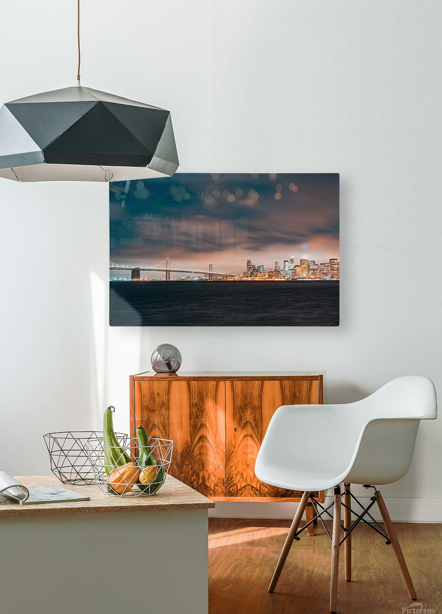 Cloudy San Francisco Night Skyline  Impression métal HD avec cadre flottant sur le dos