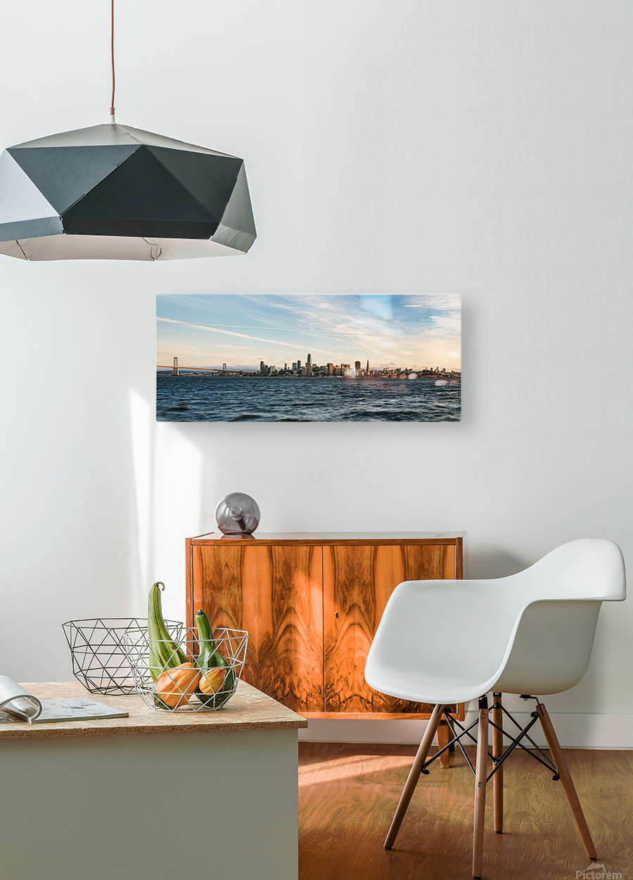 San Francisco City Skyline At Sunset  HD Metal print with Floating Frame on Back