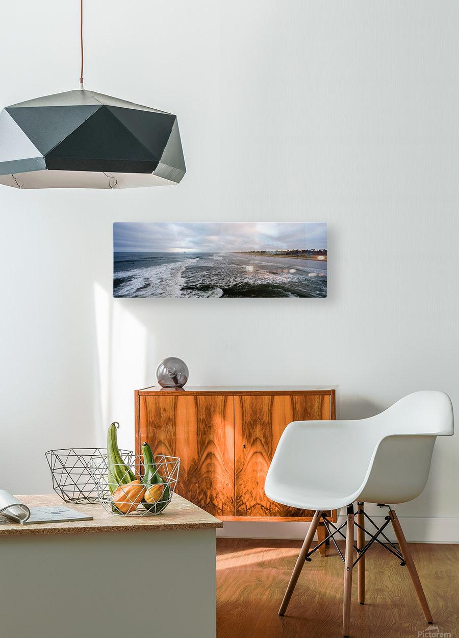 Huntington Beach Panorama  Impression métal HD avec cadre flottant sur le dos