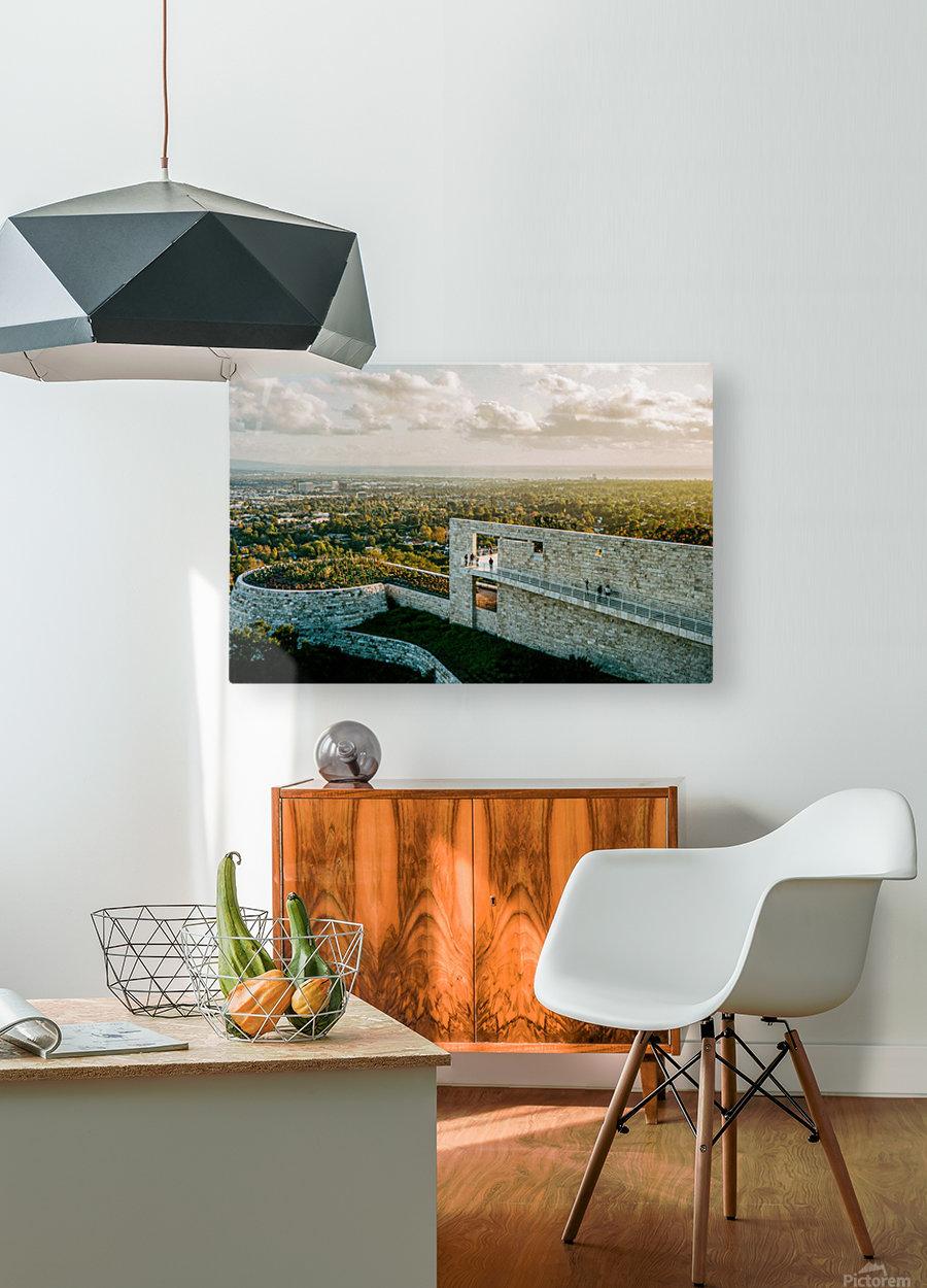 Sunset At The Getty  Impression métal HD avec cadre flottant sur le dos