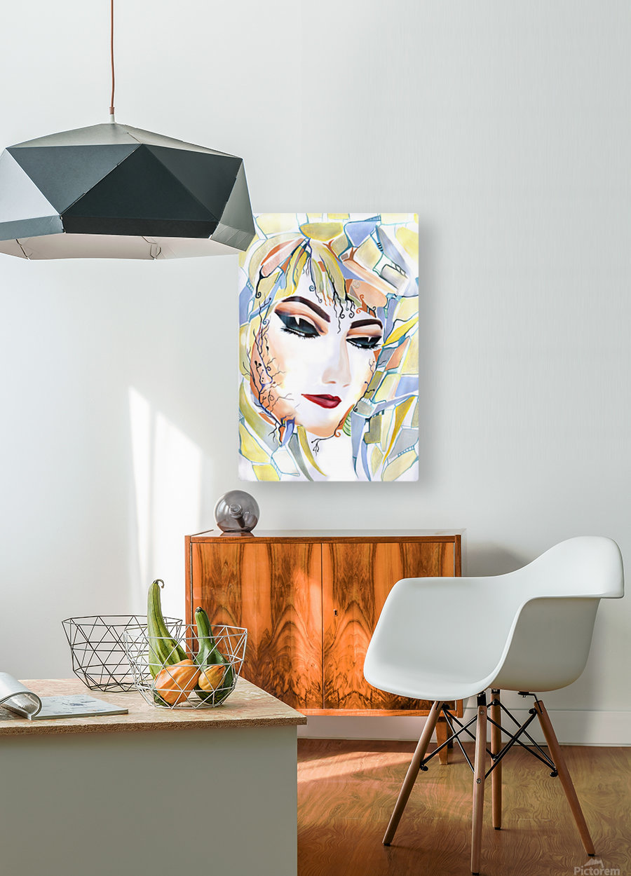 Chic Artistic Feminine Portrait  HD Metal print with Floating Frame on Back