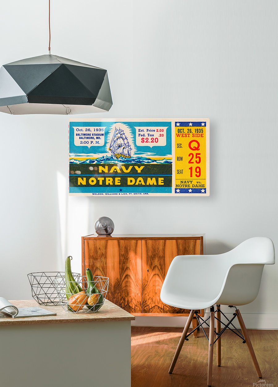 1935 Notre Dame vs. Navy Ticket Stub Wall Art  HD Metal print with Floating Frame on Back