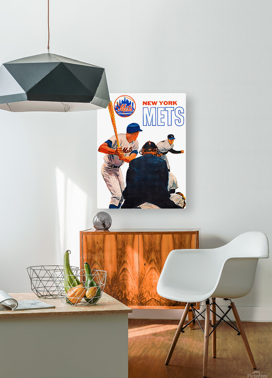 retro new york mets poster  HD Metal print with Floating Frame on Back