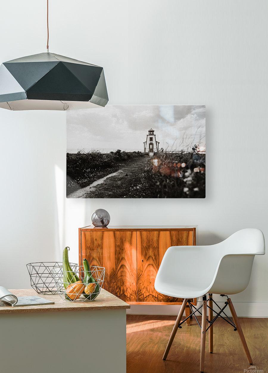Phare de Saint-Andre Kamouraska  Impression métal HD avec cadre flottant sur le dos