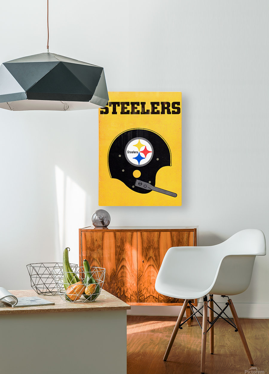 1968 Pittsburgh Steelers Helmet Poster  HD Metal print with Floating Frame on Back