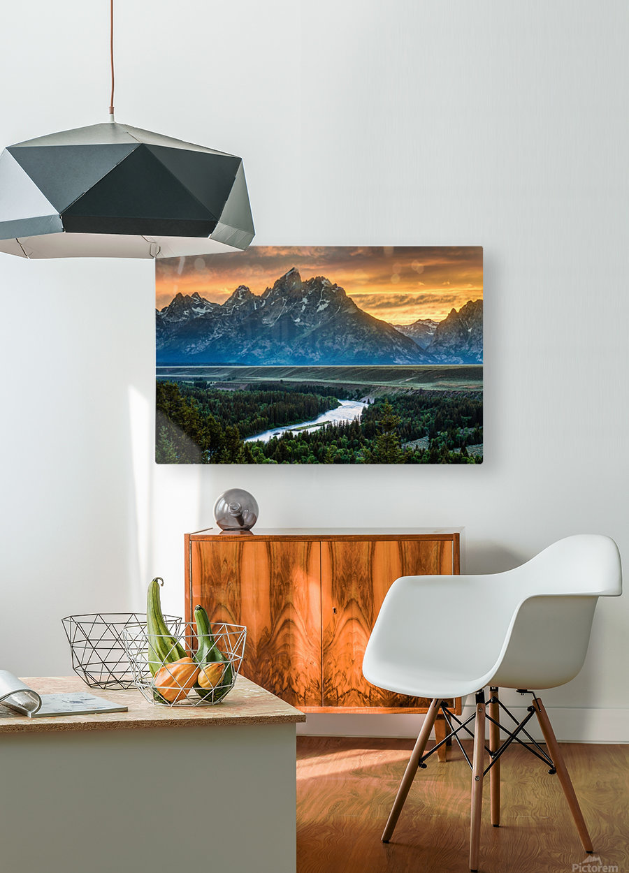 Sunset on Grand Teton and Snake River - Wyoming  HD Metal print with Floating Frame on Back