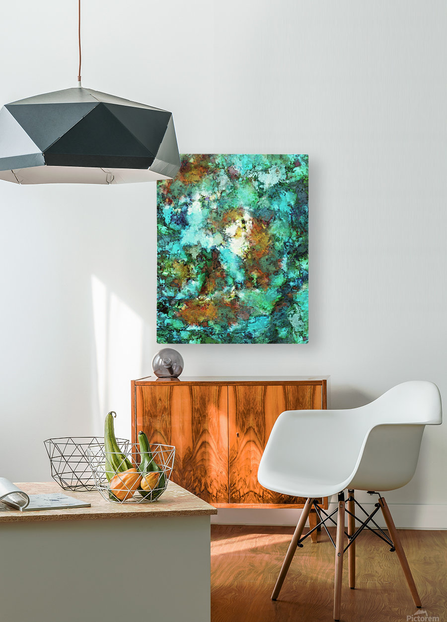 Turquoise terrain  HD Metal print with Floating Frame on Back
