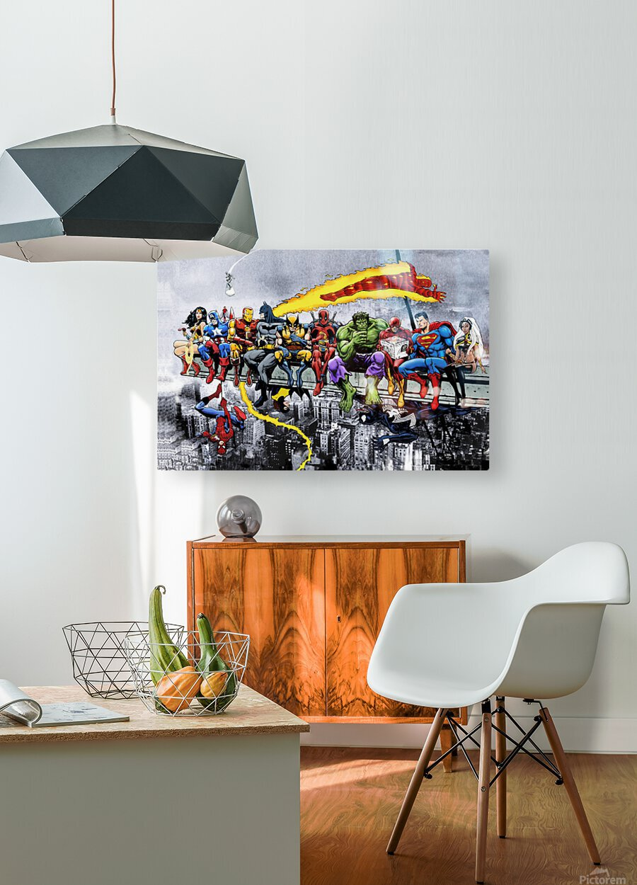 MORE Marvel DC Superheroes Lunch On A Skyscraper New Art Extra Heroes  HD Metal print with Floating Frame on Back