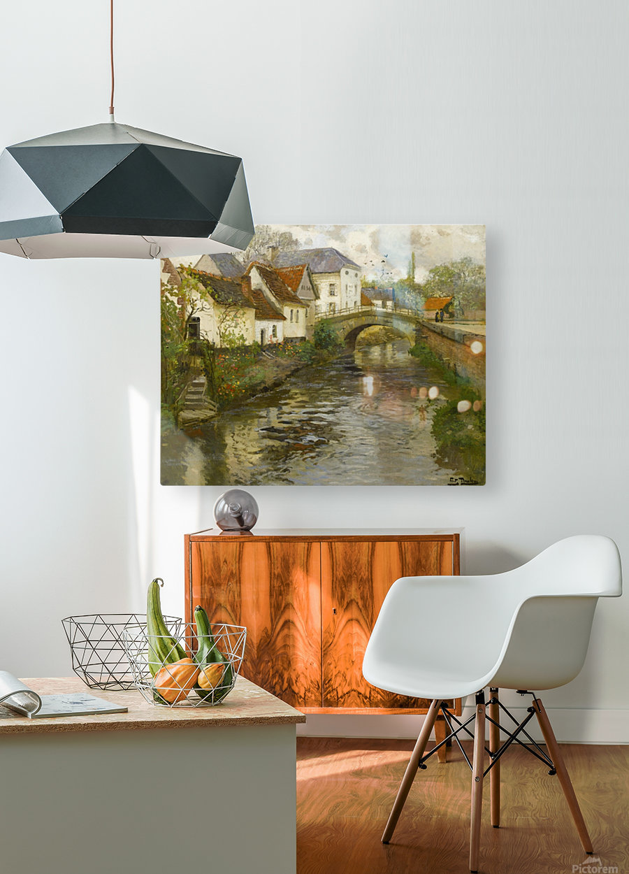 Small town near La Panne  HD Metal print with Floating Frame on Back