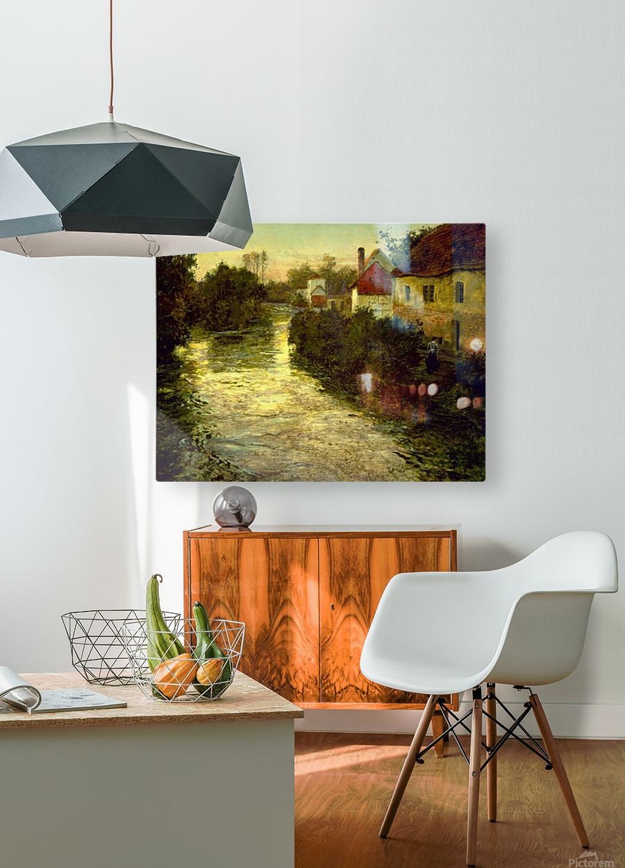 Village on the Bank of a Stream  HD Metal print with Floating Frame on Back