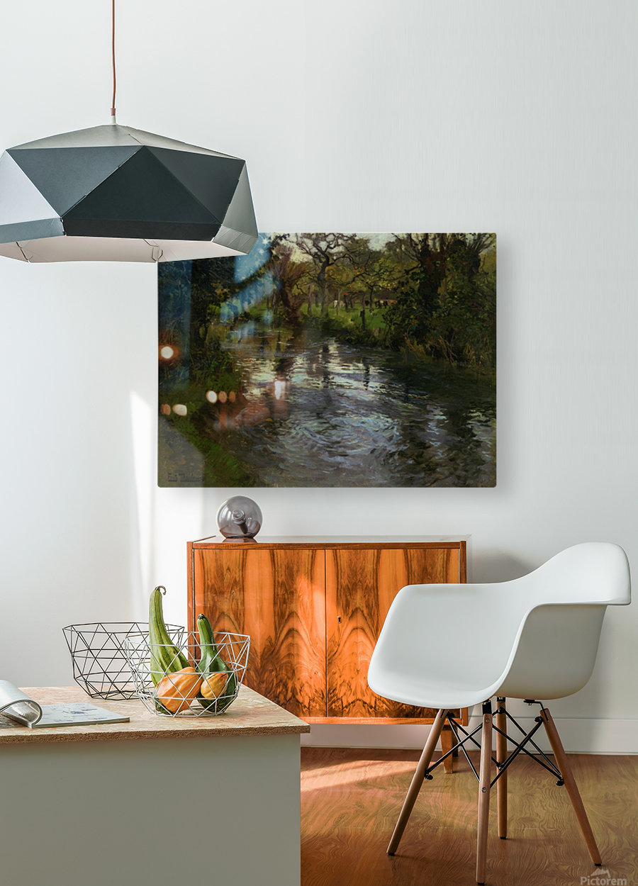 Woodland Scene with a River  HD Metal print with Floating Frame on Back