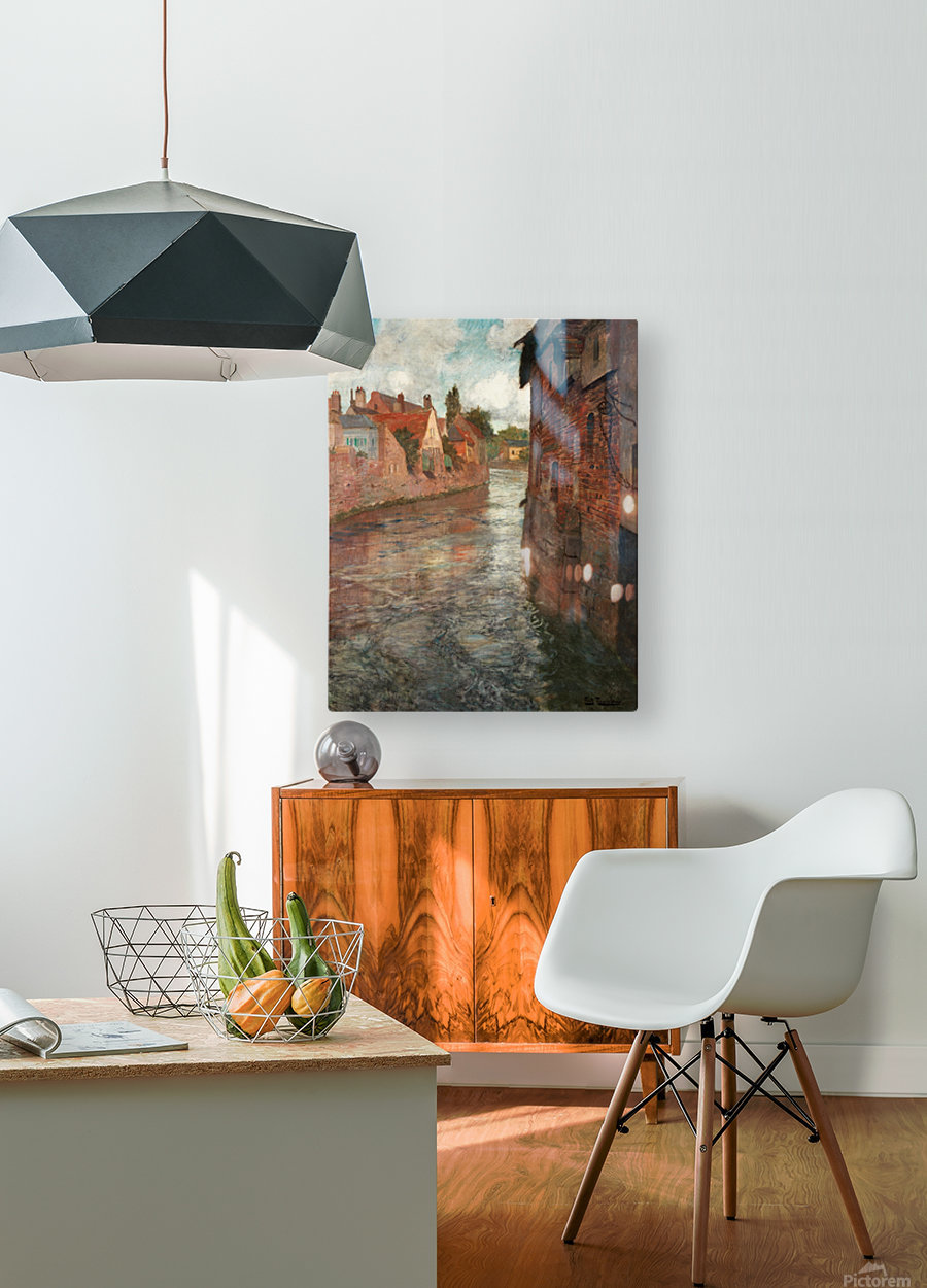 Old houses at somme in Abbeville  HD Metal print with Floating Frame on Back