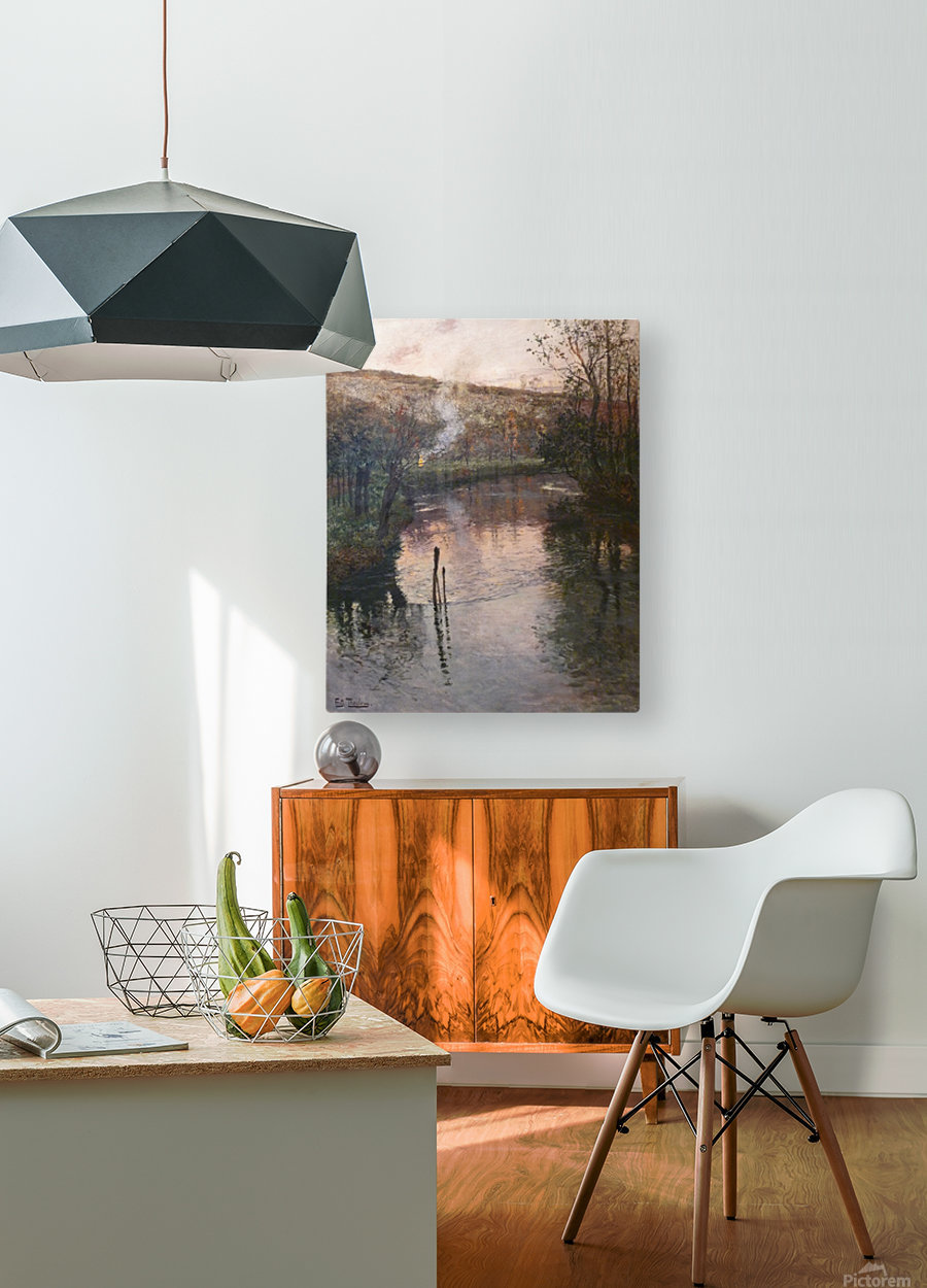 Soleil couchant sur l'Arques a Pequigny  HD Metal print with Floating Frame on Back