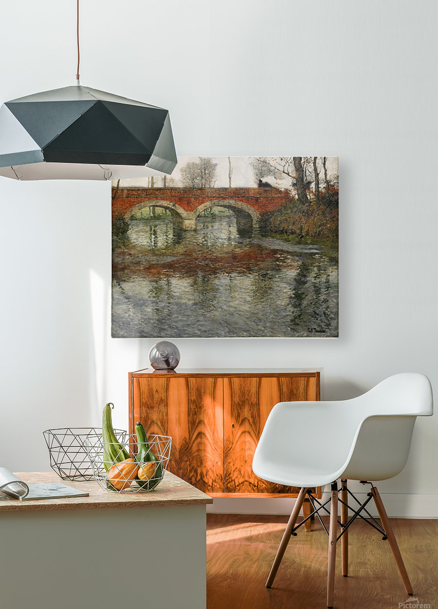 French River Landscape with a Stone Bridge  HD Metal print with Floating Frame on Back