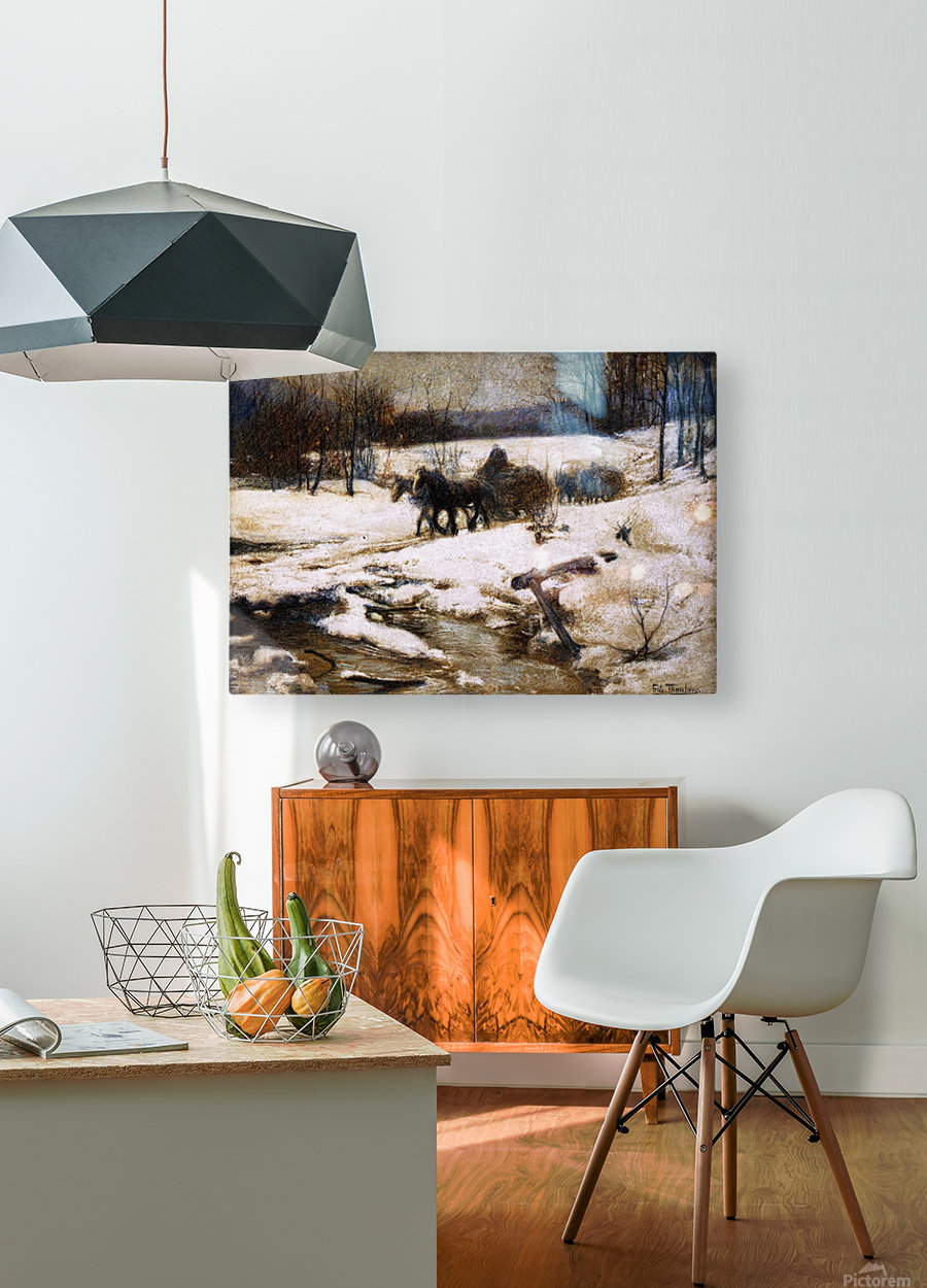 Horse Drawn Carts in Winter  HD Metal print with Floating Frame on Back