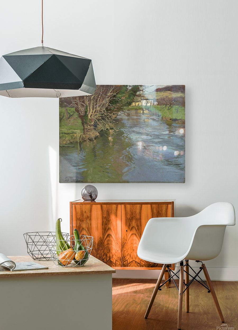 A stream in spring  HD Metal print with Floating Frame on Back