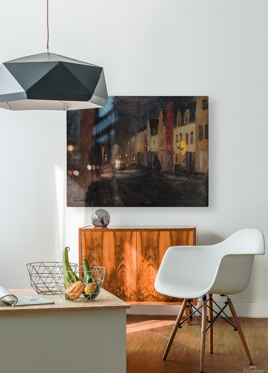 Street in Dieppe, night  HD Metal print with Floating Frame on Back