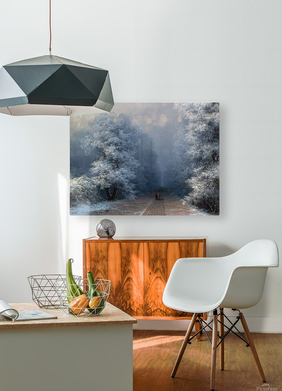 Winter landscape and alley  HD Metal print with Floating Frame on Back