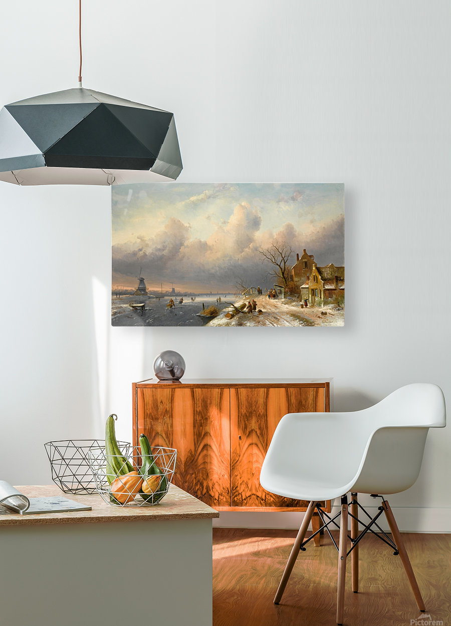 Winter landscape with figures and windmills  HD Metal print with Floating Frame on Back