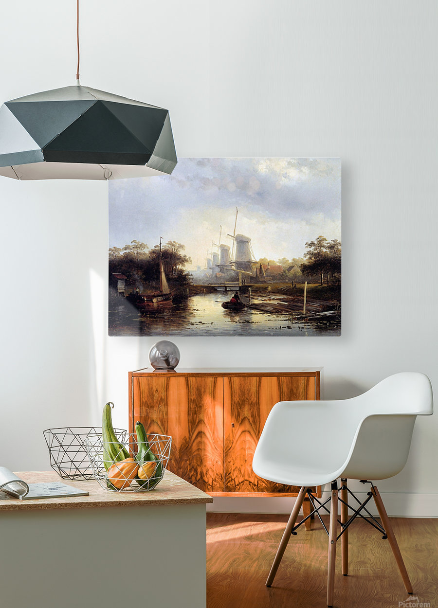 Summerlandscape with mills Sun  HD Metal print with Floating Frame on Back