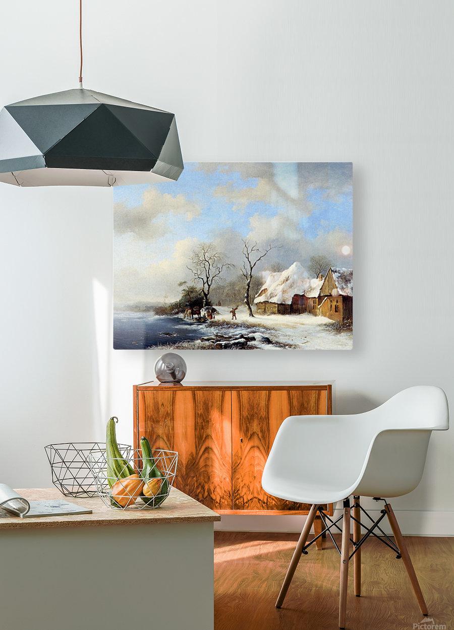 Winterlandscape Sun  HD Metal print with Floating Frame on Back