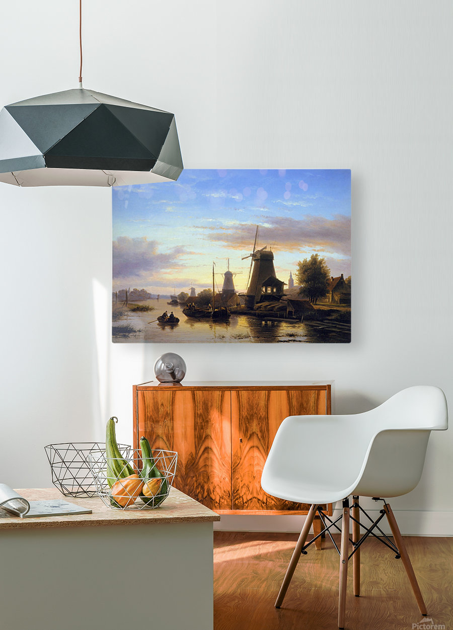 Mills at the Schie at dusk Sun  HD Metal print with Floating Frame on Back