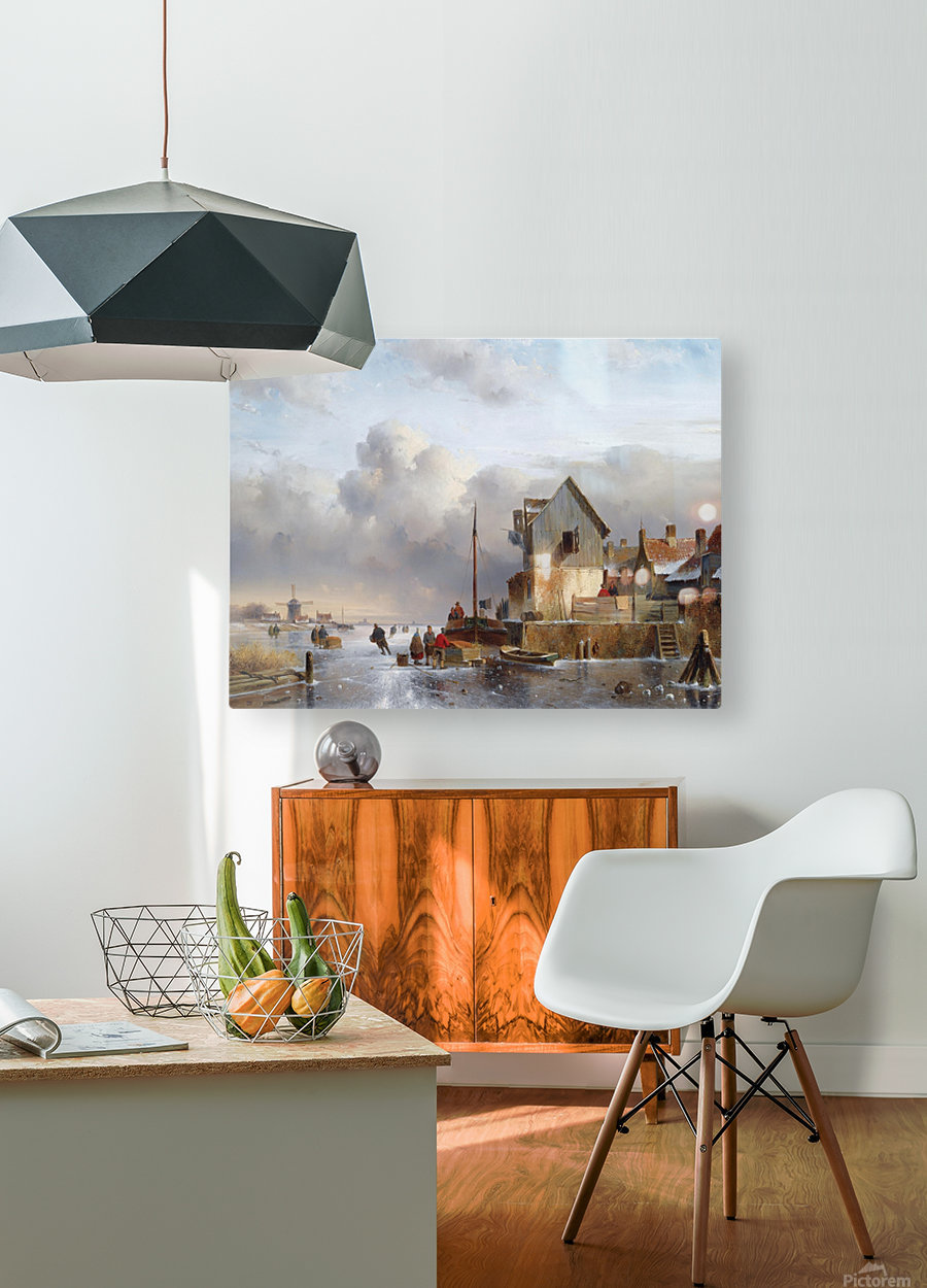 Townsfolk on lake during winter  HD Metal print with Floating Frame on Back