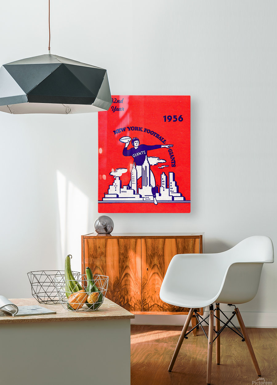 1956 new york giants vintage nfl poster  HD Metal print with Floating Frame on Back