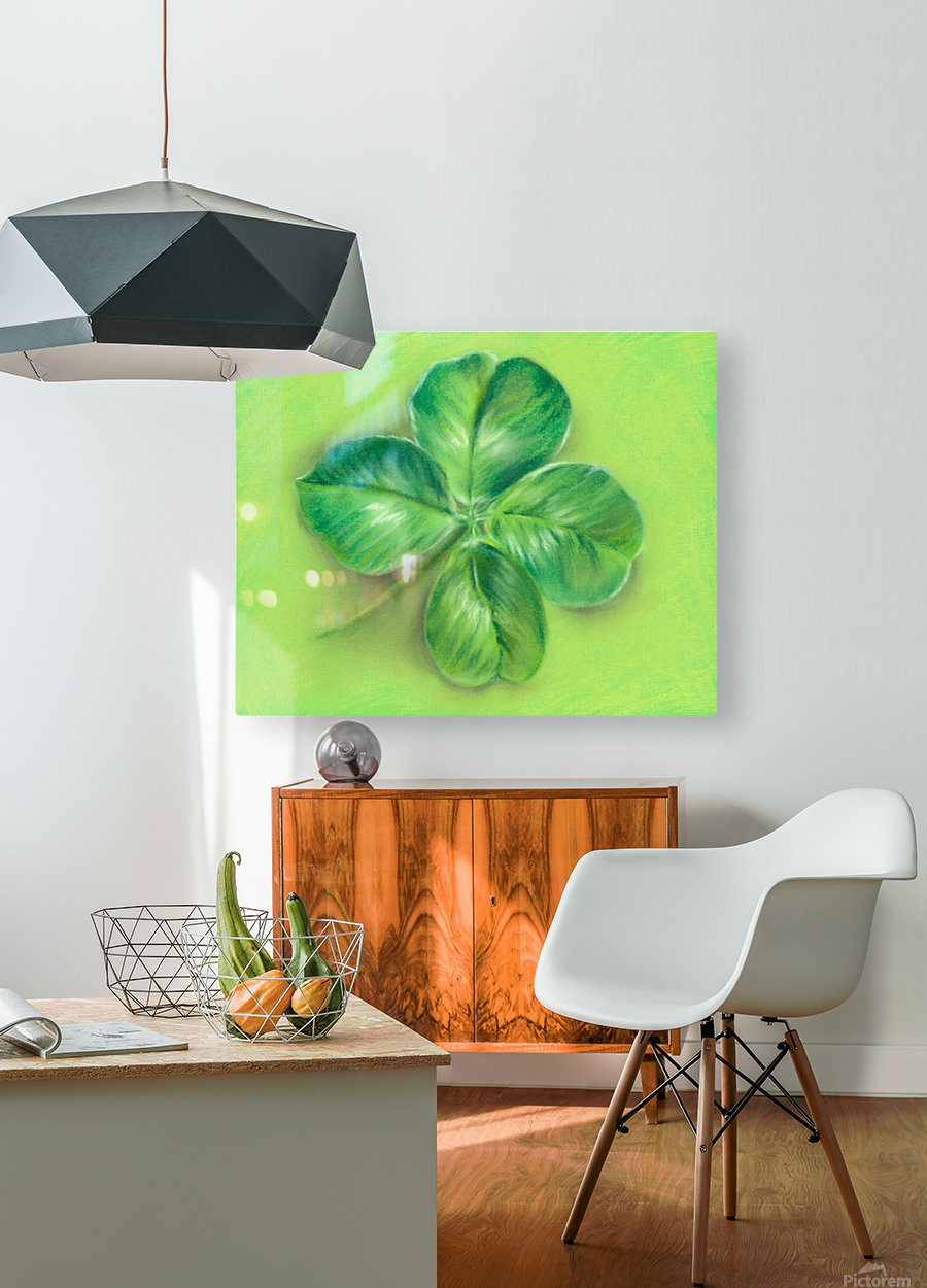 Lucky Four Leaf Clover  HD Metal print with Floating Frame on Back