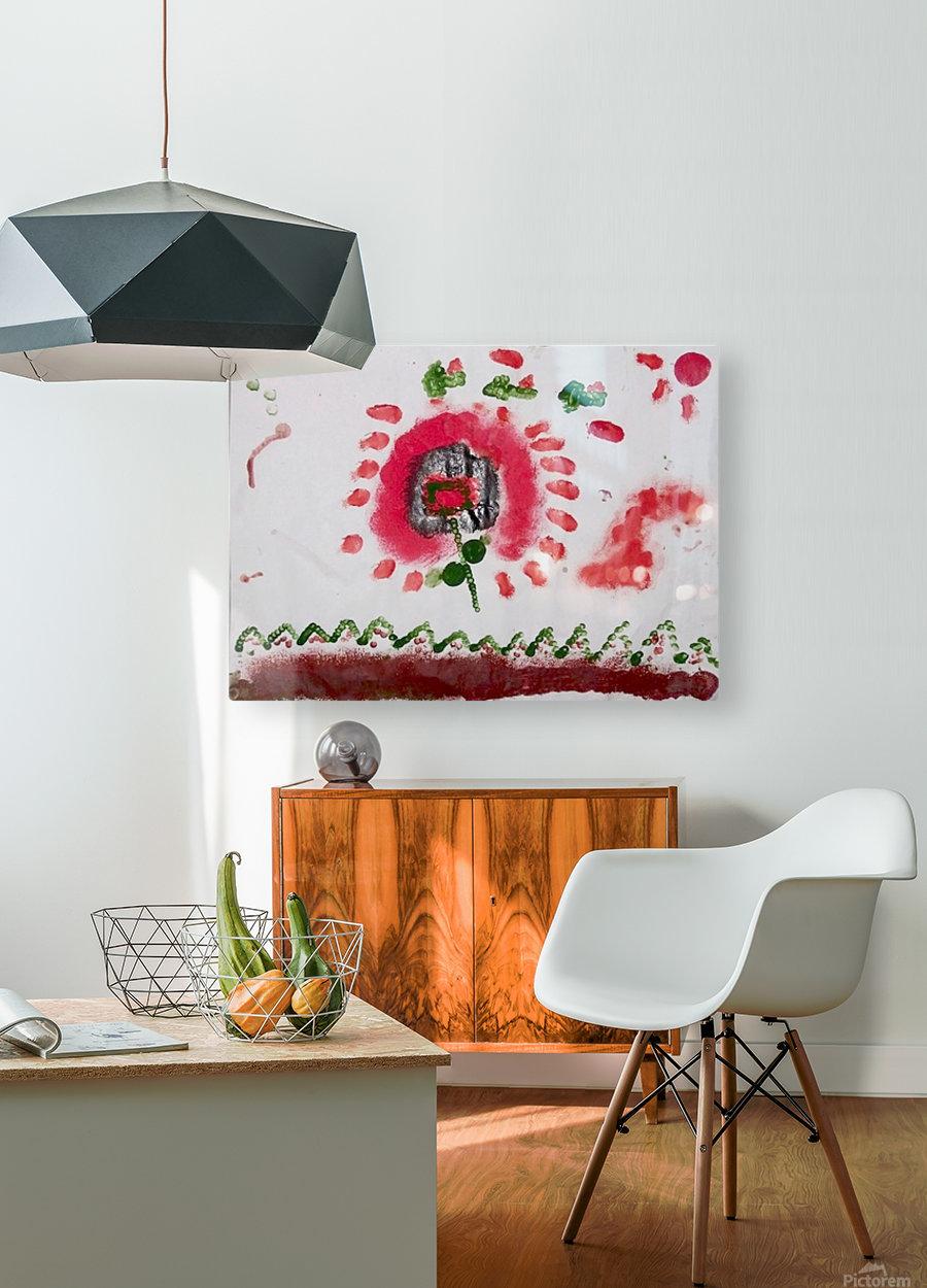 Myona red flower  HD Metal print with Floating Frame on Back