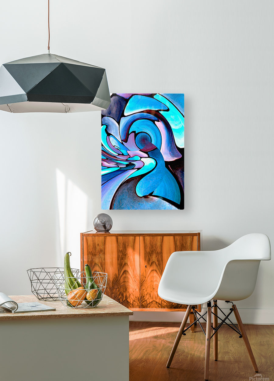 Art Deco_Green _Pattern_Aqua_Black  HD Metal print with Floating Frame on Back