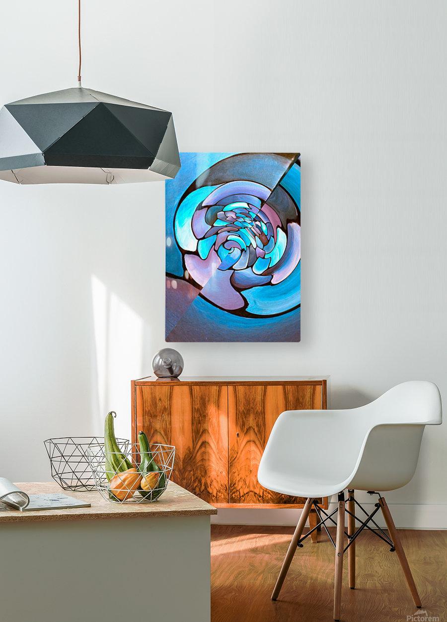 Art Deco_Green _Pattern_Aqua  HD Metal print with Floating Frame on Back