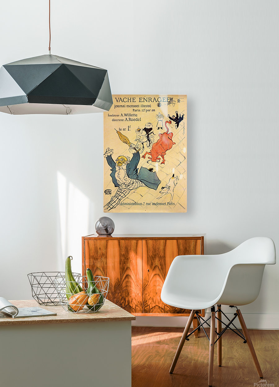 La vache enragee by Toulouse-Lautrec  HD Metal print with Floating Frame on Back