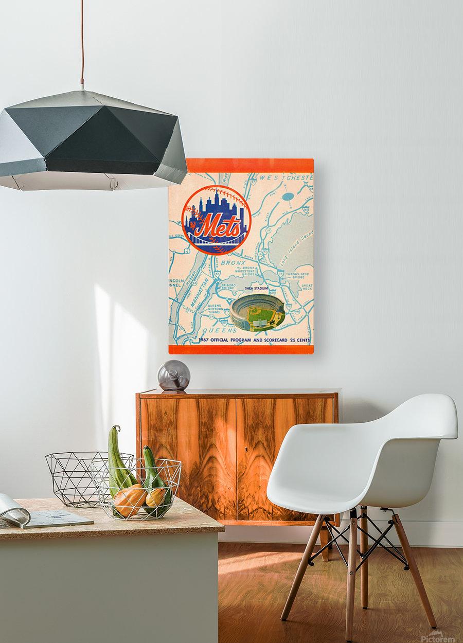 1967 new york mets vintage baseball scorecard poster wall art  HD Metal print with Floating Frame on Back