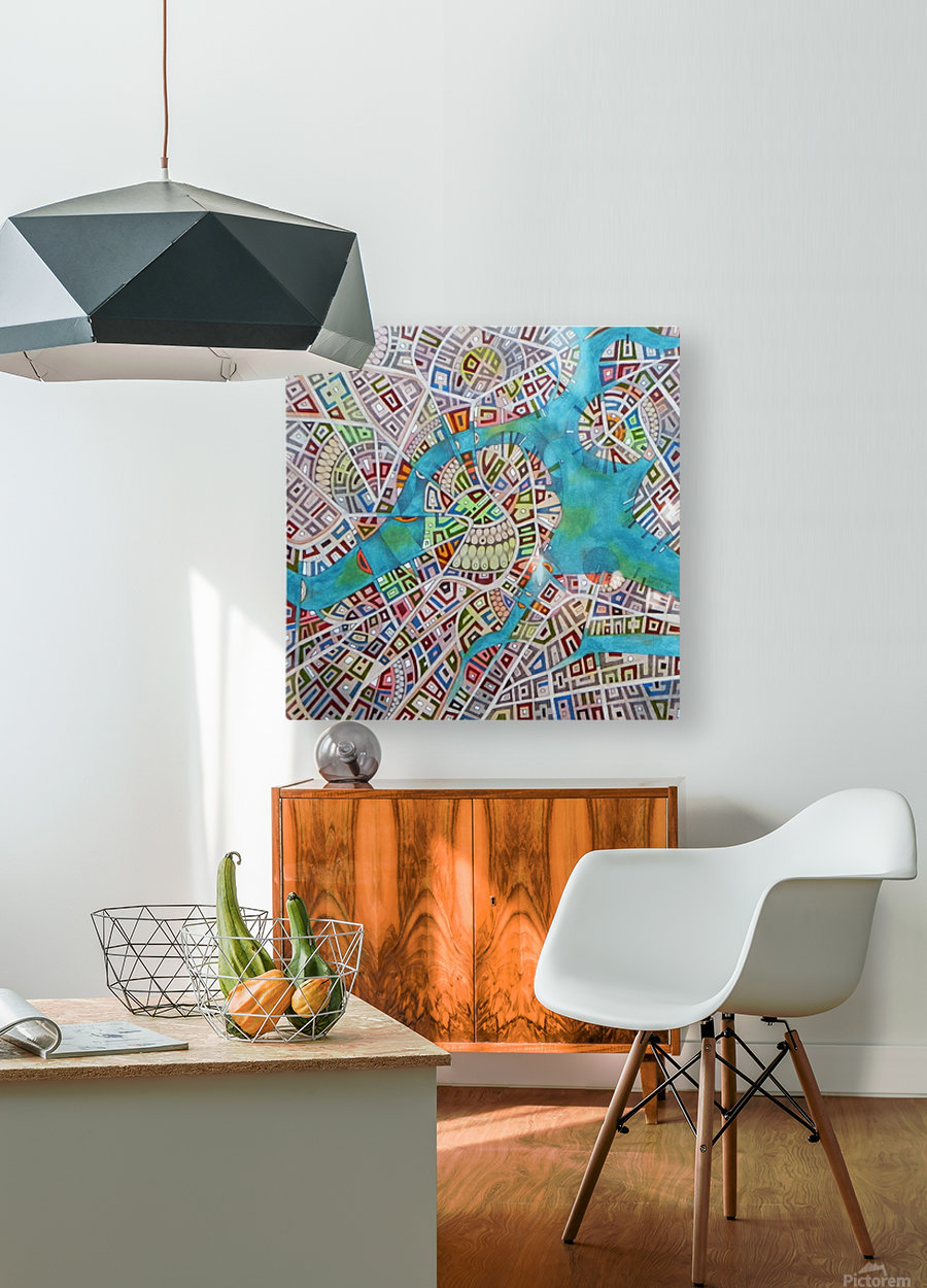 imaginary map of Boston  HD Metal print with Floating Frame on Back