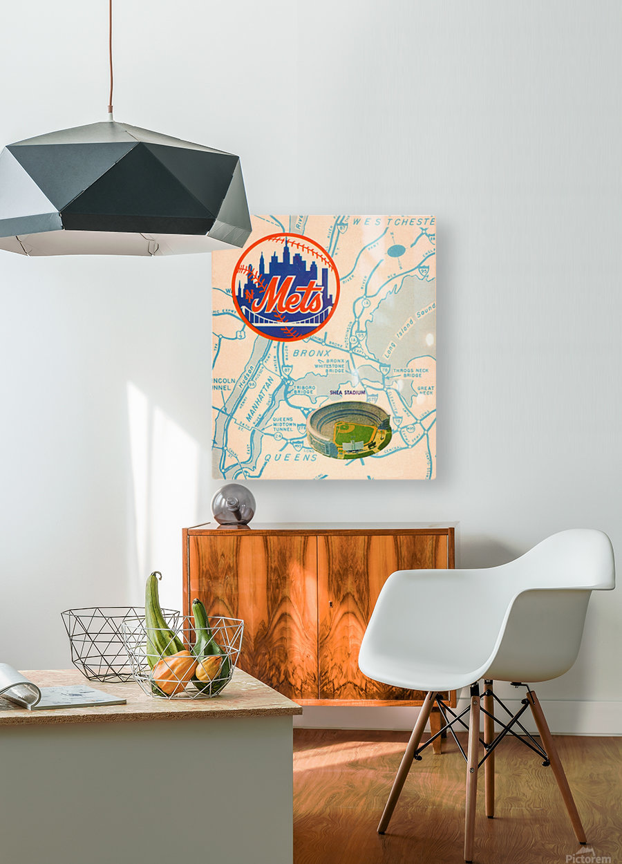 vintage mets shea stadium map poster metal man cave sign  HD Metal print with Floating Frame on Back