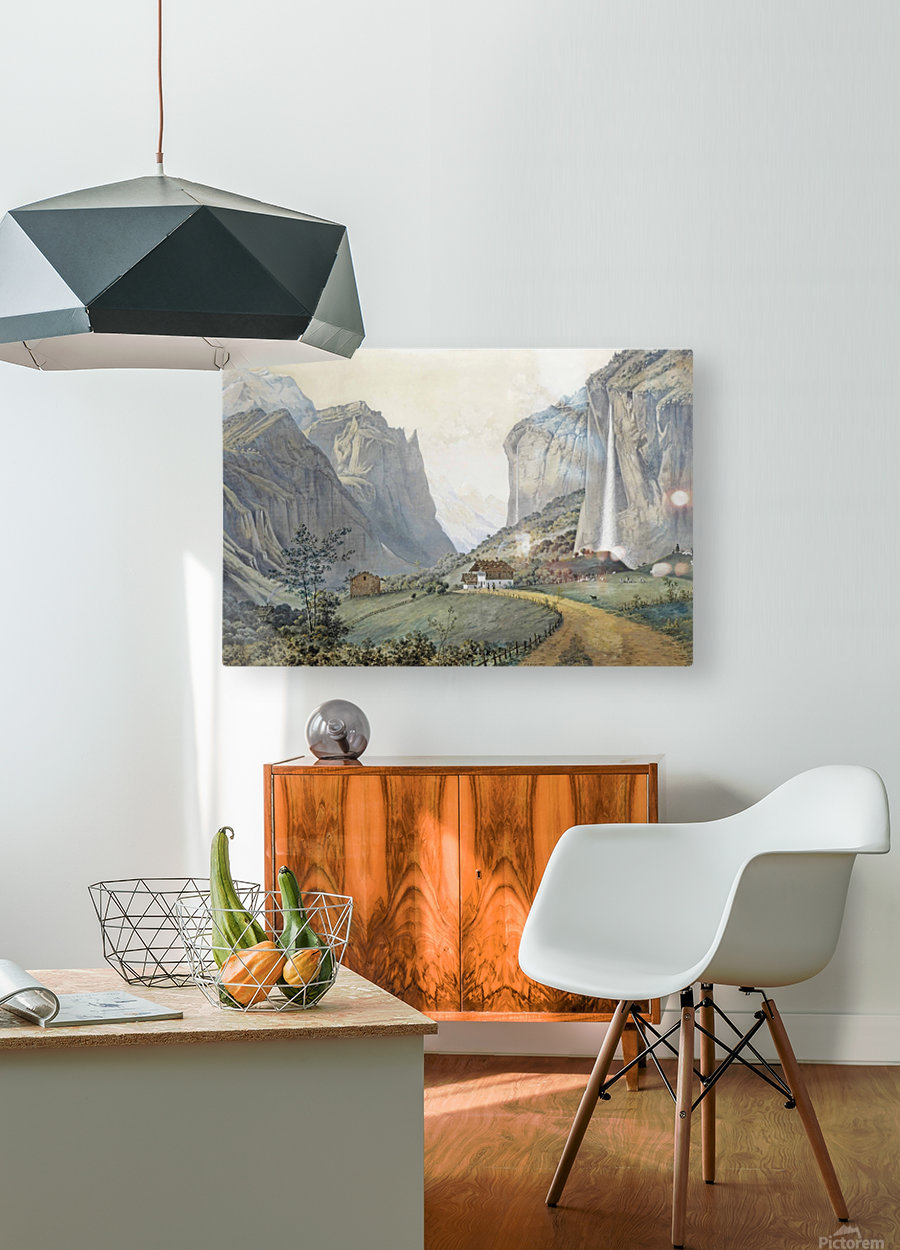 The Staubbach Falls by Lauterbrunnen in the Swiss Alps  HD Metal print with Floating Frame on Back
