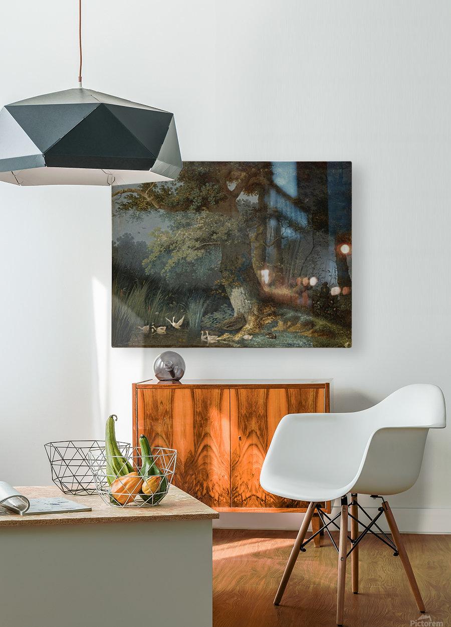 Eendenvijver in een bos met twee jagers  HD Metal print with Floating Frame on Back