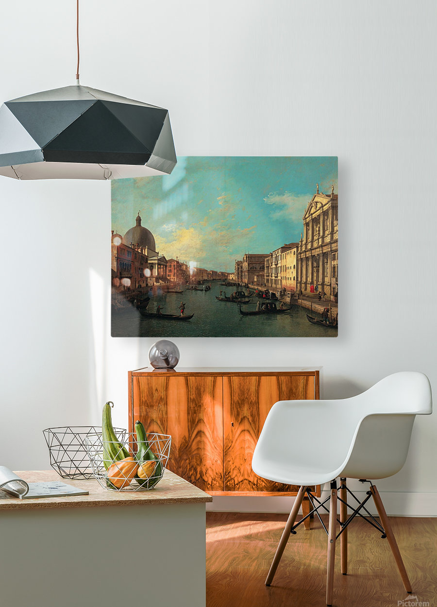 Venezia with figures along the canal  HD Metal print with Floating Frame on Back