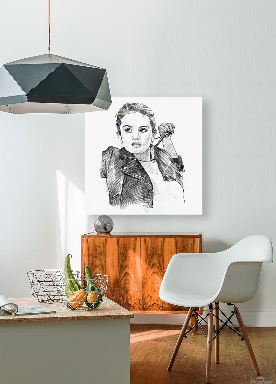 Selena Gomez - Celebrity Pencil Art  Impression métal HD avec cadre flottant sur le dos