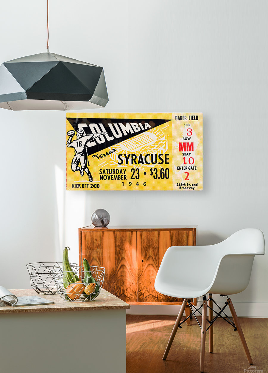 1946 columbia syracuse football ticket stub art number 18 jersey  HD Metal print with Floating Frame on Back