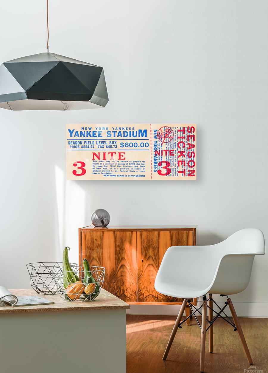 vintage yankees ticket stub metal sign  HD Metal print with Floating Frame on Back