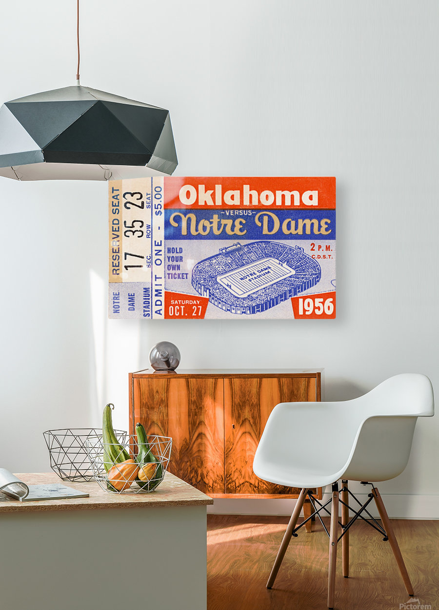 1956 oklahoma notre dame college football ticket stub wall art  HD Metal print with Floating Frame on Back