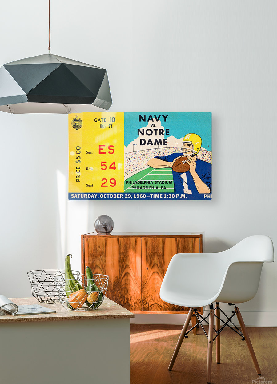 1960 navy notre dame ticket stub canvas  HD Metal print with Floating Frame on Back