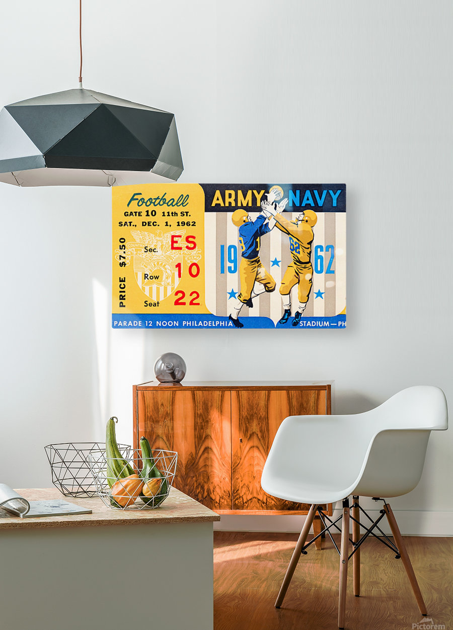 1962_Vintage College Football_Army vs. Navy_Municipal Stadium_  HD Metal print with Floating Frame on Back