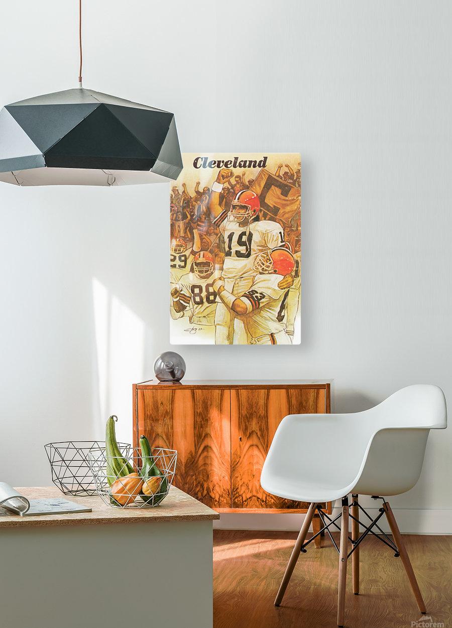 vintage cleveland browns nfl art poster  HD Metal print with Floating Frame on Back