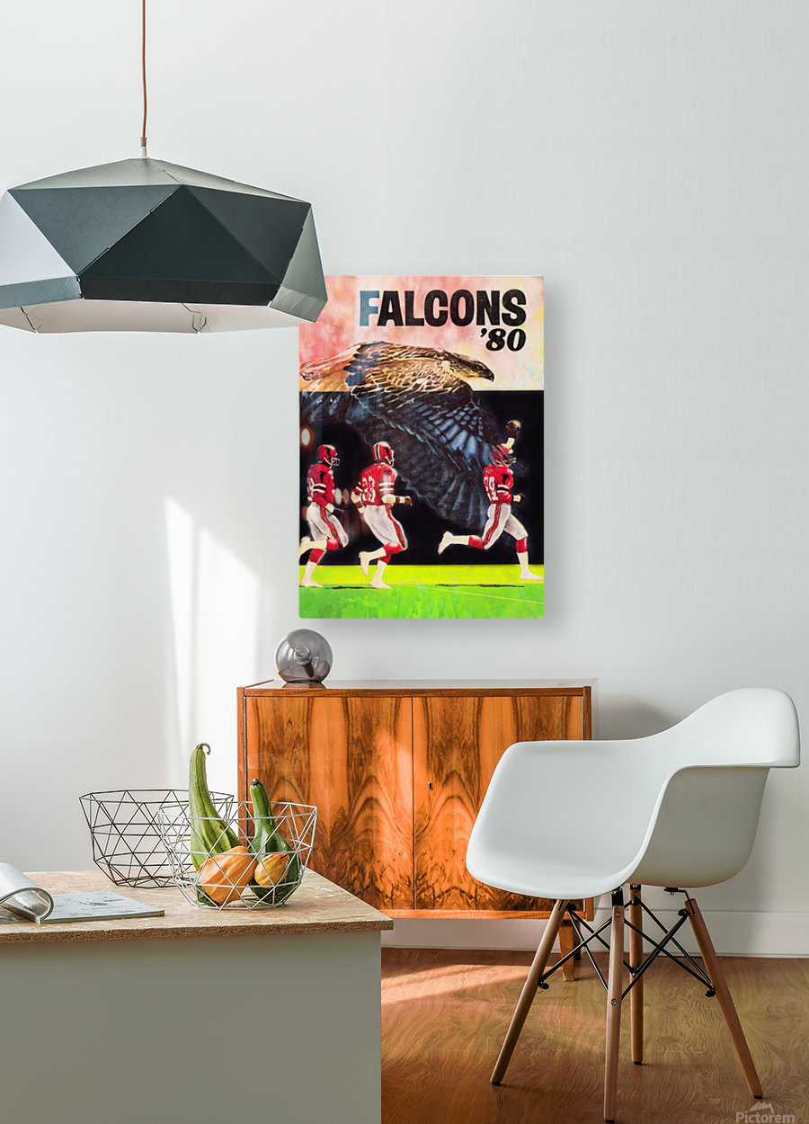 1980 retro nfl atlanta falcons poster  HD Metal print with Floating Frame on Back