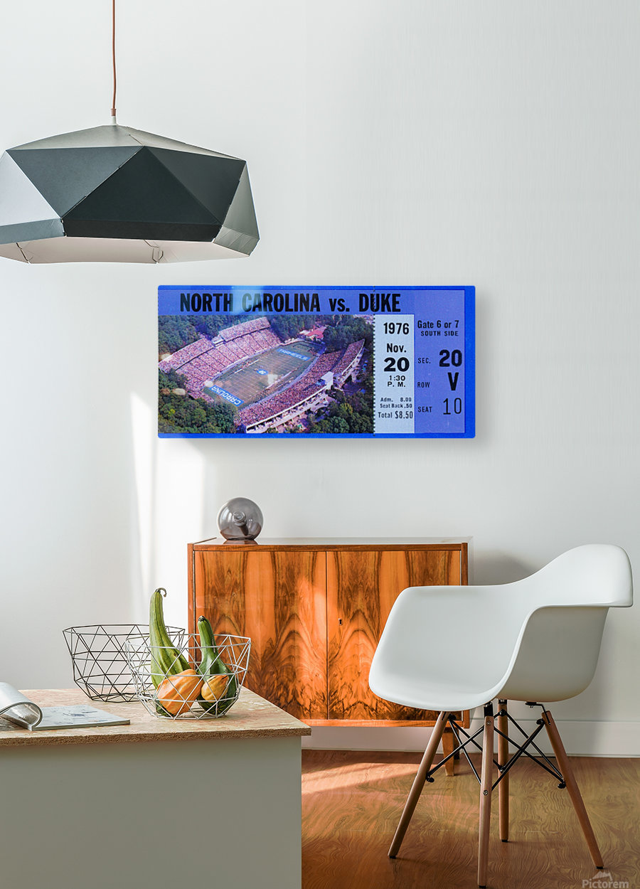 1976 duke north carolina vintage college football ticket art for the wall  HD Metal print with Floating Frame on Back
