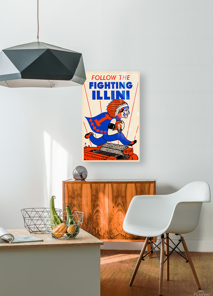 1930 vintage university of illinois fighting illini poster  HD Metal print with Floating Frame on Back